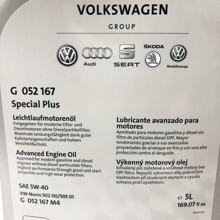 ACEITE VOLKSWAGEN VW ORIGINAL SPECIAL PLUS 5W40 5 LITROS