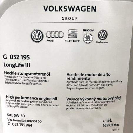 ACEITE VOLKSWAGEN VW ORIGINAL 5W30 LONG LIFE III 5 LITRO