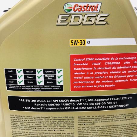 ACEITE CASTROL EDGE FST  TITANIUM 5W30 C3 5 LITROS