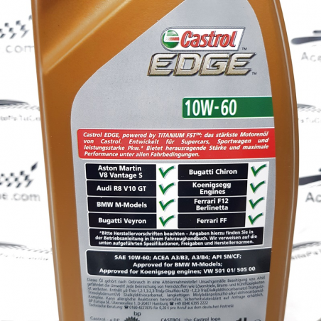 ACEITE CASTROL EDGE SUPERCAR  10W60 1 LITRO