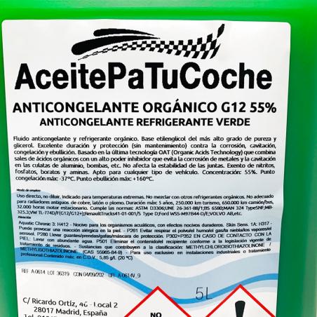 ACEITEPATUCOCHE ANTICONGELANTE ORGÁNICO G-12 55% VERDE 5 LITROS