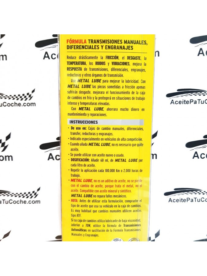 METAL LUBE TRANSMISIONES AUTOMÁTICAS 236 ML.