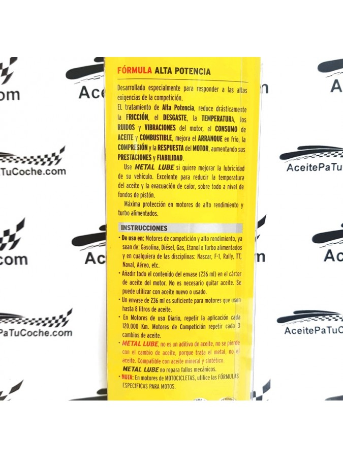 METAL LUBE FÓRMULA PARA MOTORES DE ALTA POTENCIA 236 ML.