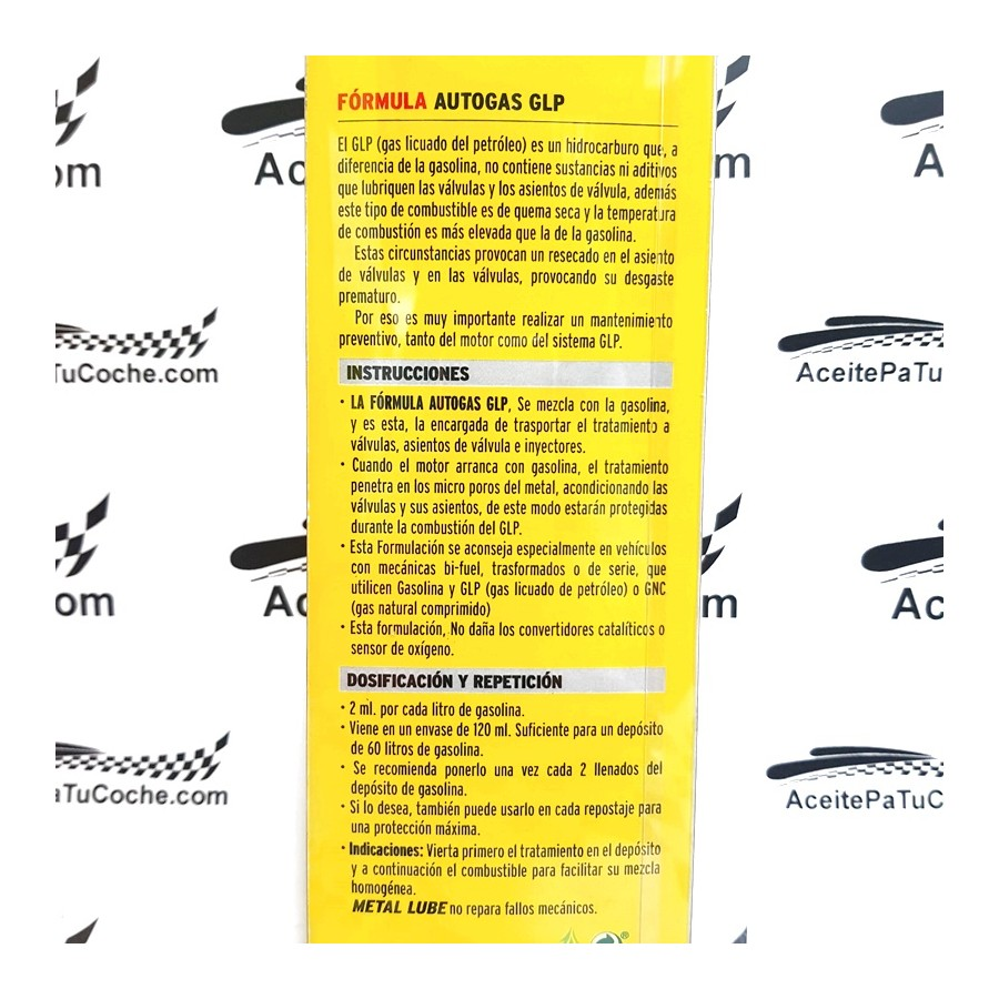 METAL LUBE FÓRMULA AUTOGAS GLP 120ML.