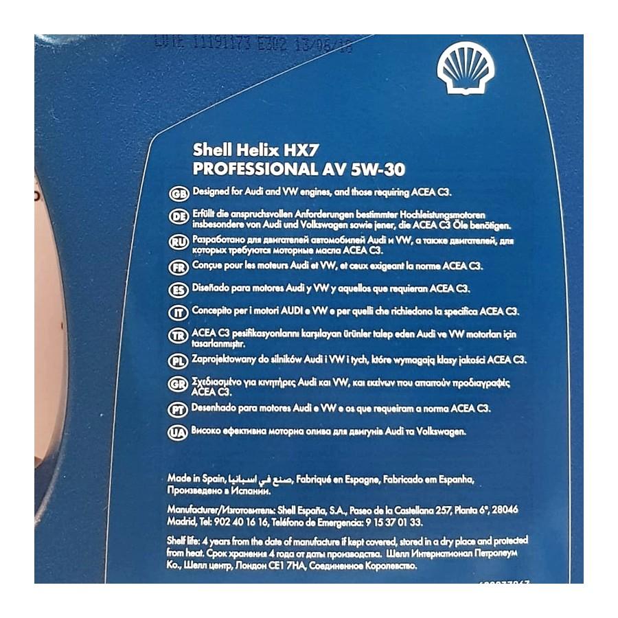 ACEITE SHELL HELIX HX7 PROFESSIONAL 5W30 AV 5 LITROS